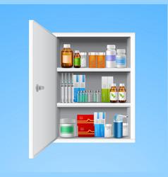 Medicine cabinet realistic vector