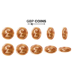 Money gbp 3d copper coins set realistic vector