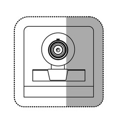 Monochrome contour sticker of webcam vector