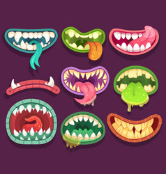 Monsters mouths halloween scary monster teeth vector