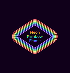 Neon rhombus frame in rainbow color vector