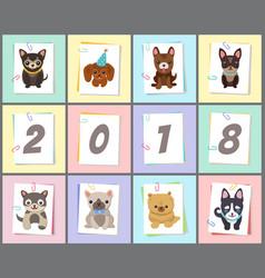 New year 2018 symbol dog vector