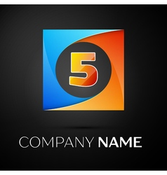 Number five logo symbol in the colorful square on vector image