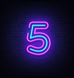 Number five symbol neon sign number five vector