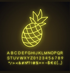 Pineapple neon light icon vector