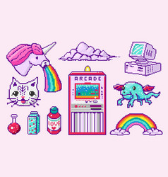 pixel art 8 bit objects character pony cloud vector image