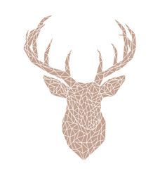 Polygonal brown head of a wild deer vector
