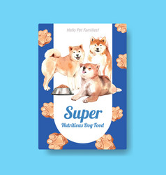 poster template with dogs and food design vector image