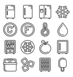 refrigerator icons set on white background line vector image