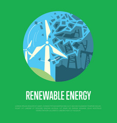 renewable energy banner wind power generation vector image