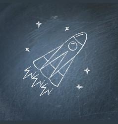 Rocket icon on chalkboard vector
