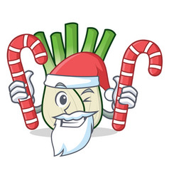 Santa with candy fennel mascot cartoon style vector