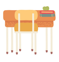 School furniture desk with chair and books vector