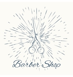 scissors and vintage sun burst frame Barbershop vector image