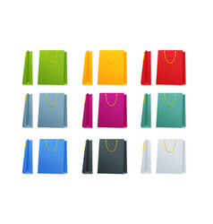set colorful empty shopping bags isolated in vector image