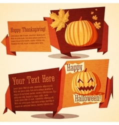 Set of autumn holidays banners - Halloween and vector image