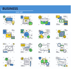 set of business finance and office icons vector image