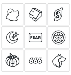 Set of Fear Icons Ghost House Vampire vector image