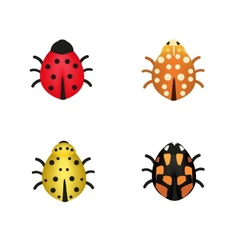 Set of four ladybugs in different colors vector image