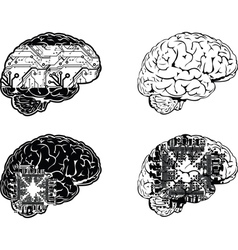 Set Of Four One Color Electronic Brain Side View vector