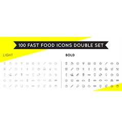 Set of Thin and Bold Fastfood Fast Food Elements vector image