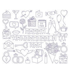set valentines day doodle icon set vector image