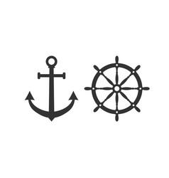 Ship steering wheel anchor icon vector