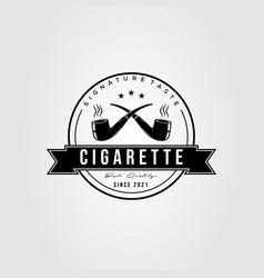 Smoking cigarette cigar badge logo design vector