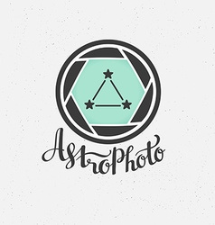 Space photography label in hipster style vector