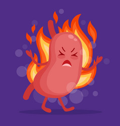 stomach heartburn cartoon character in flat design vector image