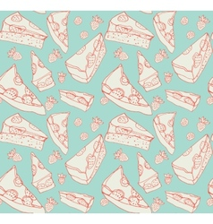Strawberry pie seamless pattern vector image
