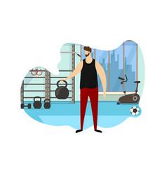 strong male character hold dumbbell in hand icon vector image