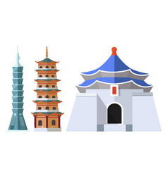 Taiwanese sightseeings taipei 101 tall buildings vector
