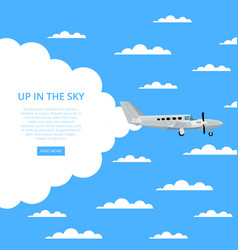 up in sky poster with propeller airplane vector image