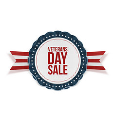 Veterans day sale blue emblem with ribbon vector