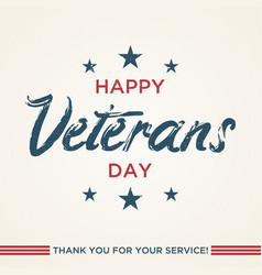 vintage latter happy veterans day vector image