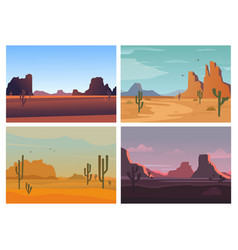 wild desert arizona high stone rocks cactuses vector image