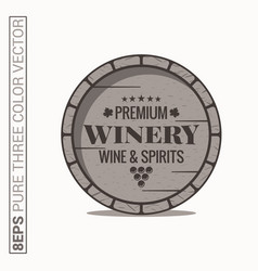 Wine barrel logo winery wine and spirits label on vector