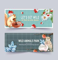 Winter animal banner design with fox owl rabbit vector