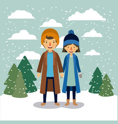 winter people background with couple in colorful vector image