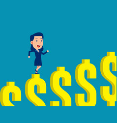 woman climbing dollar sign step financial vector image
