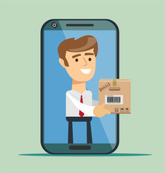 young man from smartphone screen sending cardboard vector image