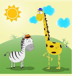 zebra and giraffe vector image