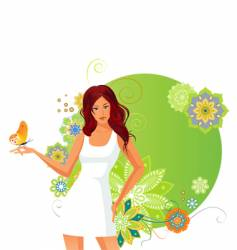 girl and butterfly vector image