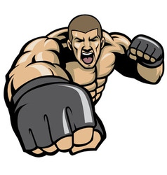 mma fighter throw a punch vector image vector image
