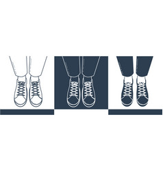 silhouettes of feet in shoes vector image vector image
