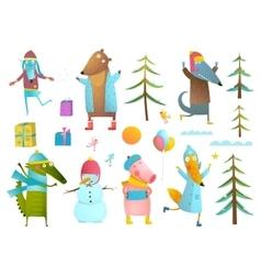 Winter season holiday animals clip art collection vector image vector image