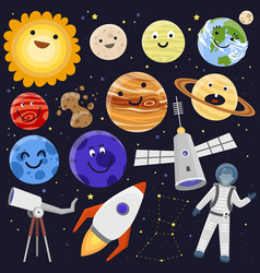 astronaut space landing planets spaceship solar vector image vector image