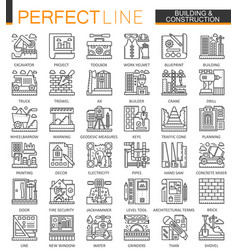 building and construction outline mini concept vector image vector image