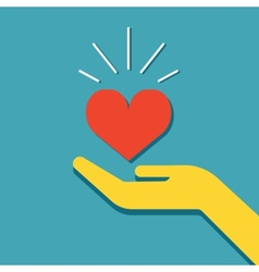Hand holding heart icon vector image vector image